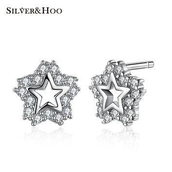 SILVERHOO 2017 New Fine Jewelry 925 Sterling Silver Elegant Clear Zircon Star Stud Earrings for Women Wedding Party Gift