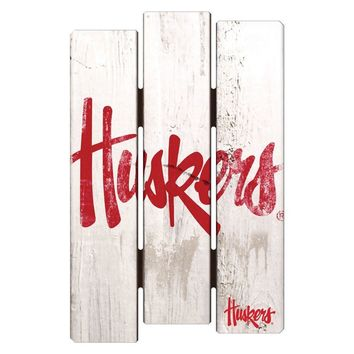 Nebraska Cornhuskers De-Fence 11x17 Wood Sign