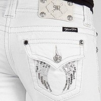 NEW MISS ME RHINESTONES SEQUIN EMBELLISHMENT ANGEL WING WHITE BOOT CUT  JEANS on eBay!