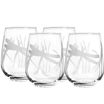 Rolf Glass Dragonfly Stemless 17 oz. Wine Glass Tumbler (Set of 4)