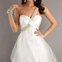 Prom Formal Homecoming Dave & Johnny short white dress sz 3/4 Glitter one strap