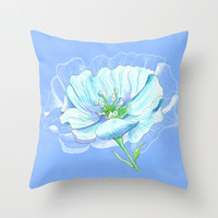 Blue Flower Throw Pillow, beautiful blue and white, modern, decor, pillows, cushions, throw pillow