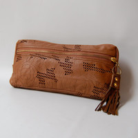XL Leather wallet/clutch in chocolate brown
