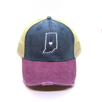 Indiana Hat - Distressed Snapback in Red and navy - Heart Indiana