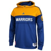 Mens Golden State Warriors adidas Royal Blue 2014 Pre-Game Hooded Long Sleeve Shooter