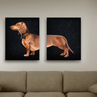 Dachshund portrait (2 poster 12x16) Dog Illustration fine art giclée print