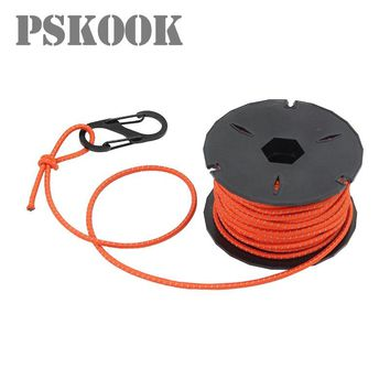 PSKOOK Bungee Cord Reflective Elastic Shock Rope Outdoor Crafting Stretch String Tie with Winder and Carabiner 3mm x 15 Meters