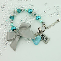 Teal & silver snowflake bracelet, let it snow bracelet, winter bracelet, winter jewelry, snowflake charms, winter charms