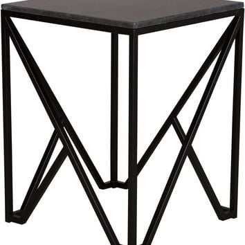 Large Kory End Table Powdercoated Black With A Black Granite Top