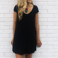 Champagne Toast Black V-Neck Chiffon Cap Sleeve Shift Dress