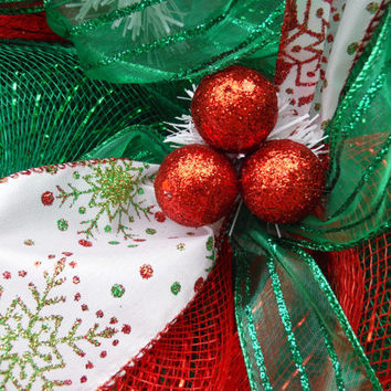 Christmas Wreath, Deco Mesh Wreath, Ribbon Wreath, Holiday Wreath