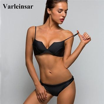 Bather 2019 Brazilian Bikini with Cup Sexy Two-pieces swimsuit swimwear women Bra Bikini set Female bathing suit swim wear V642