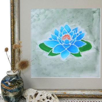Water lily Nenuphar- Batik Art on Chiffon Fabric- Lotus Flower Picture- Floral Painting- Original Print Wall Decor-Acrylic Textile Wall Art