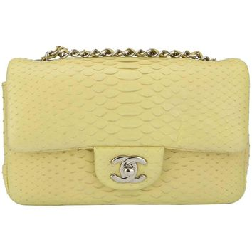 Chanel Yellow Python Rectangular Mini Bag with Silver Hardware, 2014
