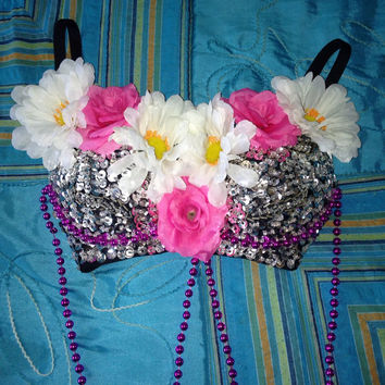 Silver Sequins Flower Rave Bra