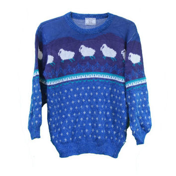 Cute Vintage Sheep Sweater - Animal Sweater -  Acrylic - Blue Purple - Size Large