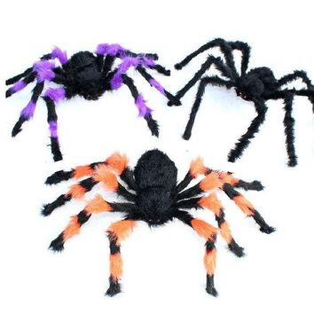 ESBONG Halloween haunted house props _ night games decorative props Tricky whole person horror plush spider [9047590087]