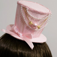 Sweet Baby Pink and Gold Candy Gothic and Lolita Mini Top Hat - Made to Order