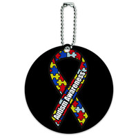 Autism Awareness Ribbon on Black Round ID Card Luggage Tag