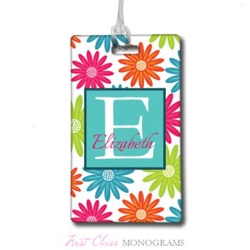 Multicolored Flowers Personalized Monogram Baggage Tag