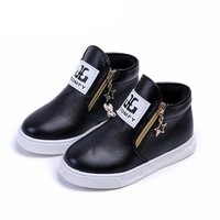 Girls Boots Shoes With Boys Kids Boots Shoes Double Zipper Leather