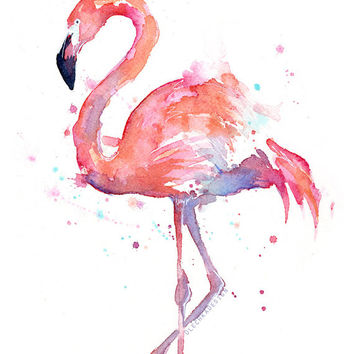 Flamingo Watercolor Painting Art Print Giclee Bird Animal Wall Art Home Decor Tropical Pink Flamingo