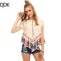 DIDK Multicolor Short Sleeve Print Ruffle Blouse Womens Tops and Blouses Summer Women Clothes 2017 Cute Blouse