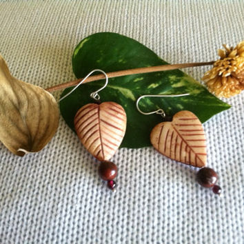 Leaf Heart Earrings Handmade Tan Carved Bone Heart Shaped Leaf Earrings With Maroon Mookaite and Garnet Beads Boho Nature Themed Jewelry
