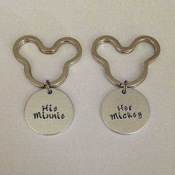 "Disney inspired Mickey Mouse keychain set ""His Minnie"" ""Her Mickey"" hand stamped Mickey Mouse Minnie Mouse"