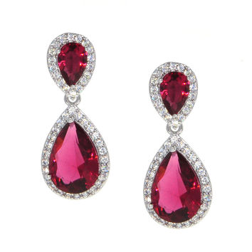 Dear Deer White Gold Plated Classic Ruby Red Teardrop CZ Dangle Earrings