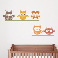 Woodland Owls Wall Decal