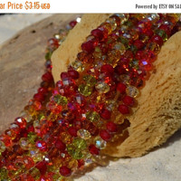 Sale Crystal Rondelle Bead  - beads 8x 5 mm m 37 pc faceted bead strand -fall autumn beads- supplies crafts jewelry -green glass red bead or