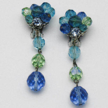 Signed Vintage EUGENE Blue and Green Faceted Crystal Dangle Clip Earrings