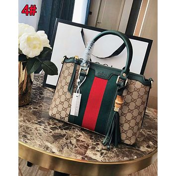 Gucci Newest Popular Women Shopping Bag Leather Tassel Handbag Tote Stripe Satchel Shoulder Bag 4#
