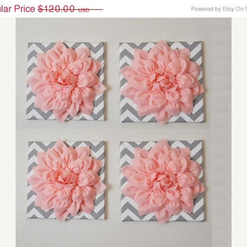 "MOTHERS DAY SALE Wall Decor -Set Of Four Light Pink Dahlias on Gray and White Chevron 12 x12"" Canvases Wall Art- 3D Felt Flower"