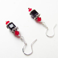 Swarovski Cube Earrings - Black Crystal Cube Earrings - Beaded Black and Red Dangle Earrings - Crystal Cube Earrings - Cute Sterling Silver