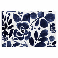 "Crystal Walen ""Watercolor Floral"" - Navy Painting Decorative Door Mat"