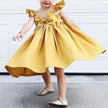 Toddler Infant Girl Tutu Dress Kids Baby Ruffle Princess Party Pageant Dresses Kids Girls Tube Top Dress Summer Bow Dresses 0-4Y