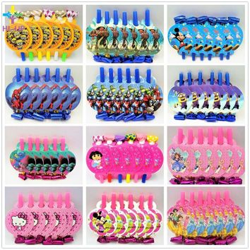 6pcs/set Mickey Minnie Mouse Trolls Minions Sofia Dora Avengers Hello Kitty Blowouts Party Supplies For Kids Event Decorarion