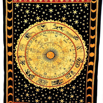 Horoscope Zodiac Tapestry,Indian Astrology Hippie Wall Hanging , Bedspread Beach throw Gypsy Decor Art