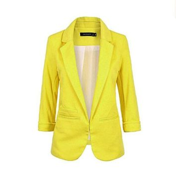 PEAPUNT Women Fomal Slim Suit Coat 3/4 Sleeve Outwear Office Lady Business Blazer