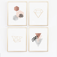 Scandinavian Modern Prints - Copper Wall Art - Geometric Prints - Scandinavian Wall Prints, Marble, Blush, Black - Diamond Print  - Hexagon
