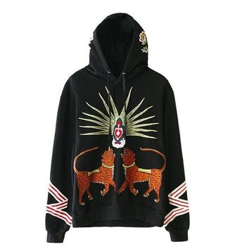 ca qiyif High Men Embroidery Leopard Flower Hoodie