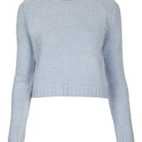 Petite Knitted Fluffy Crop - Topshop