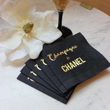 Chanel Party, Gold Cocktail Napkin, Chanel Napkin, Gold Foil Napkin, Champagne and Chanel, Black Napkin, Gold and Black Napkin, Designer