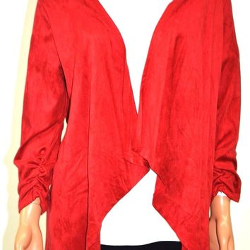 NY Collection Women's Red Open Front Suede Draped Cardigan Shrug L