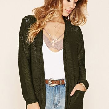 Open-Front Knit Cardigan