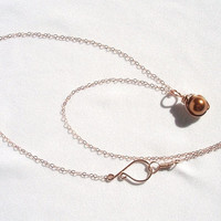 Small Dainty Rose Gold Copper Pearl Pendant, Copper Pearl Wired Pendant, Copper Pearl Rose Gold Jewelry, Wire Wrapped Jewelry Handmade