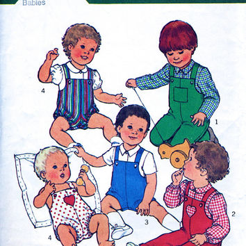 Babies' Dungarees / Romper In Two Lengths And Shirt - 70's Vintage Sewing Pattern - Style 2550 - Baby 6 Months