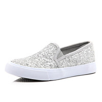 River Island Girls grey glitter slip on sneaker